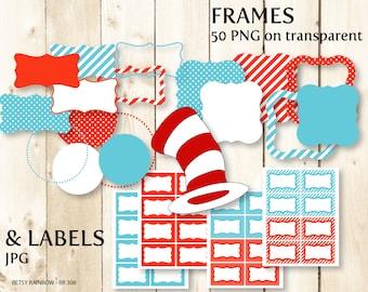 Dr. Seuss Digital frames clipart, digital labels, PNG and JPGs, Digital frame clipart  - BR 308
