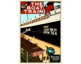 BOAT TRAIN Boston Maine Railroad Ship Travel Art Poster -Eastern Steamship Lines Train Ocean Liner Cruise - available in 3 sizes -Print 107