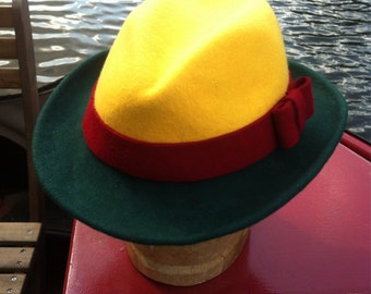 Contrast/Multi-coloured felt trilby - made to measure - choice of colours