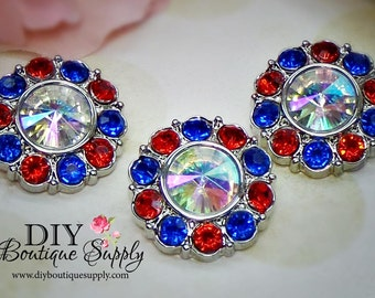 RED WHITE BLUE Rhinestone Buttons July 4th of July Patriotic Rhinestone Flower Centers Embellishments Scrapbooking Headband Supplies 557035