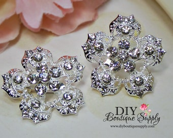 2 pcs Flower Crystal Rhinestone Brooch Embellishment for Brooch Bouquet pins Crystal Wedding Supply Bridal sash pins shoe clips 35mm 621092