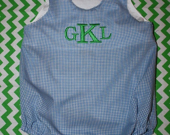 Baby Boy/Girl Monogrammed Gingham Bubble