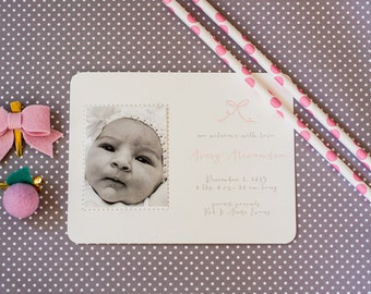 Custom Baby Bow Letterpress Announcements