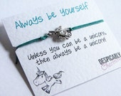 Unicorn Friendship Bracelet Wish with Antiqued Silver Unicorn Charm - Perfect BFF Gift or Bridesmaid Gift