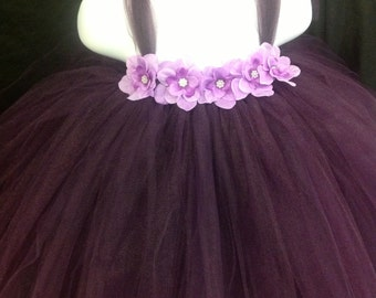 Purple Tutu Dress, Plum Tutu Dress, Dark Purple Tutu Dress, Purple Tutu Dress with Lilac Flowers, Fluffy Tutu Dress