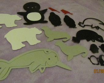 set of cold weather animals die cuts