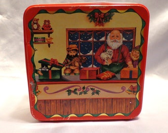 SANTA and ELVES Workshop Collectible Tin