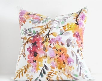Watercolor Golden Wisteria Toss Cushion Cover Hand Made in Canada Pillow Decorative Cushion Cover, Golden Wisteria Linen Throw Pillow cover