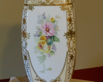Nippon Porcelain Hand Painted Moramuri Brothers Floral and Gilt Bead Octagonal Vase