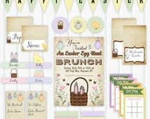 Printable Easter Party Set, INSTANT DOWNLOAD Easter Brunch Party Kit, Easter Egg Hunt Party Decorations, Party Invitation, Spring Kids Party