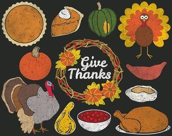 Digital Chalkboard Thanksgiving Clipart with Turkey, Gourd, Pumpkin Pie, Squash, Fall Wreath, Hand Drawn Chalk Food Clip Art, Dinner Party