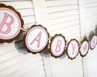 Pink and Brown Baby Shower Banner Carriage Theme -Baby Shower Decorations -Party decorations