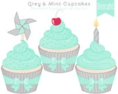 50% OFF Grey and Mint Cupcake Clip Art Set - Personal & Commercial Use