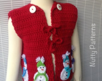 Crochet Patterns * Snowman Vest * Instant Download Pattern # 448 * Baby, Toddler and Children Sizes * Easy * Holiday Gift * Christmas Gift