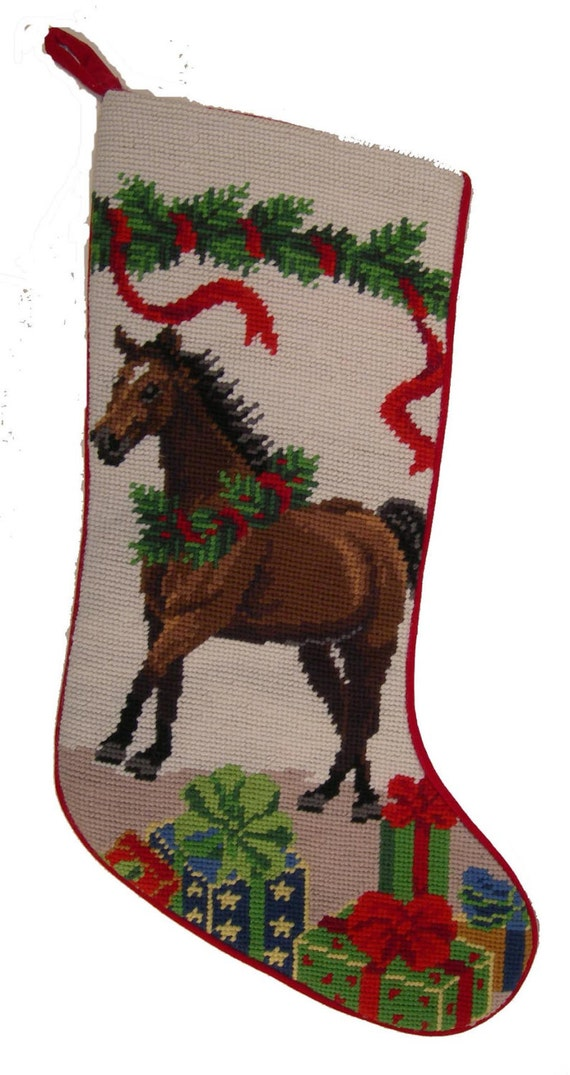 Bay Horse Personalized Needlepoint Horse By Babarkergifts
