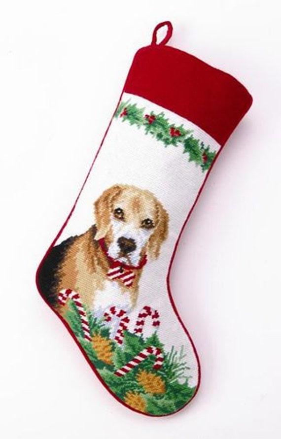 Beagle personalized needlepoint dog christmas by babarkergifts for Personalized dog christmas stocking