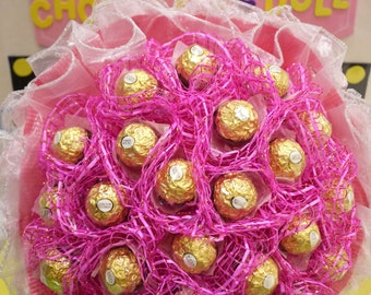 Pink Ferrero Rocher Chocolate Bouquet. *** Birthday gift that she will love!!