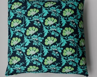 """Pillow cover - Amy Butler,  blue green """"leaf"""" print fits a 20x20 pillow - 100% Cotton"""