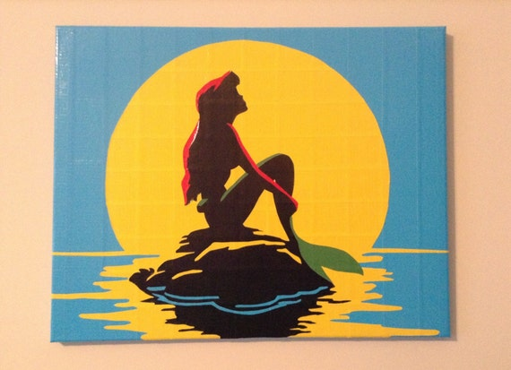 Items similar to ariel from the little mermaid duct tape for Tape painting on canvas