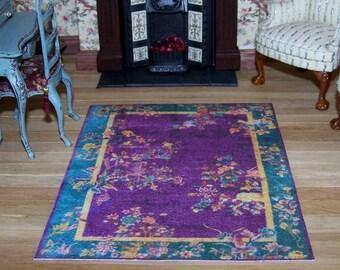 Dollhouse Miniature rug, Art Nouveau Chinese Velvet Purple & Turquoise, 1:12 scale rug, Dolls House carpet, UK Seller