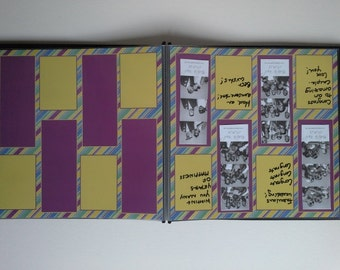 Purple and Yellow Striped Photo Booth Guest Book