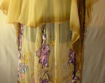 Natural silk dress - handmade artwork ,silk painting, 100% natural silk handwork,  beige floral dress, purple gladiolus
