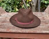 Light Brown Wide Brimmed Fedora Hat