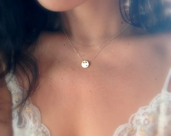 Tiny Gold Circle Necklace - Gold and Diamond Cz - Simple Gold Geo Necklace - Gold Disc - Gold Dot Necklace - Everyday Necklace