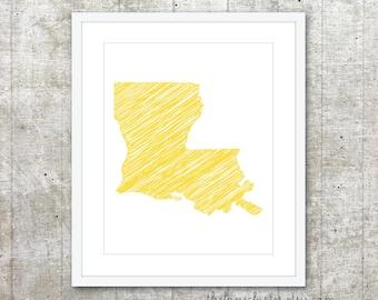 State of Luisiana Art Print - Custom State Poster - Yellow - Modern Wall Art