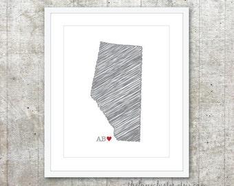 Alberta Province Art Print - Custom Canadian Province Love Poster - Alberta Canada Province Poster - Slate Grey Red Heart - Modern Wall Art