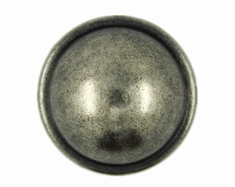 Metal Buttons - Nickel Silver Domed Metal Shank Buttons - 17mm - 11/16 inch - 6 pcs