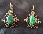 Bronze Synth. Malachite Earrings with Crystal Rhinestones