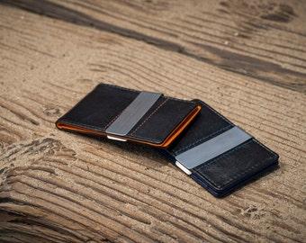 money clip wallet - mens - birthday - wedding - groomsmen - best man - graduation - minimalist - leather - steel - wallet - thin - clip