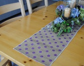 SALE -  BURLAP Table Runner - Natural Burlap with Lilac Polka Dots - 12x60