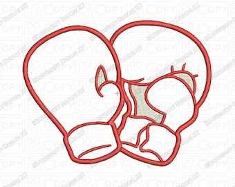 Boxing Gloves Applique Embroidery Design in 3x3 4x4 and 5x7 Sizes