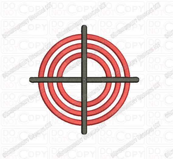 Gun crosshair embroidery design in and
