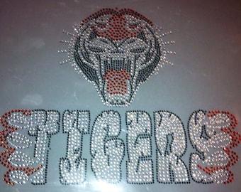 Tigers rhinestone hot fix iron on heat transfer - DIY sports team school mascot tiger