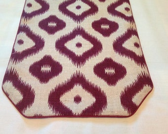 Burlap Table Runner Painted in a Burgundy Wine Colored Ikat Pattern