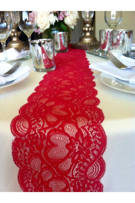 Sale 6ft Lace Table Runner Dark Red 5 5in By Lovelylacedesigns
