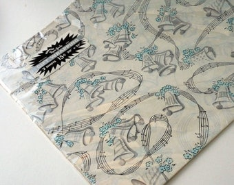 Tuttle Paper Goods Silver Bells & Music Note with Light Blue Flower Gift Wrap Two Sheets