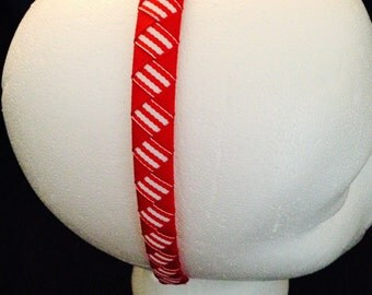 "Red and Red Striped Grosgrain Ribbon Woven Headband, 1/2"" wide"