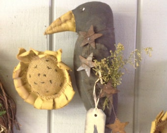 Primitive Crow and Sunflower Wall Hanger