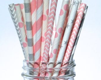 Pink and Silver baby shower decor, Pink and Silver straws, Pink and Silver Party decor for girl baby shower, Baby pink and silver straws