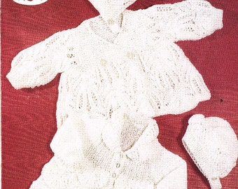 baby matinee coats  vintage knitting pattern PDF instant download