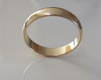 Wedding Band 14K Recycled Yellow Gold Low Dome Eco Friendly Ethical Unisex Classic