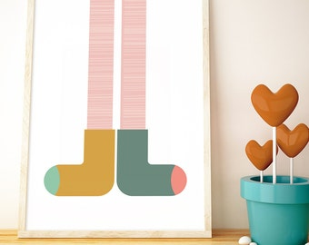Odd Socks // LOVE your walls by Fossdesign // Instant Download Poster A3 // children's room nursery playroom kids