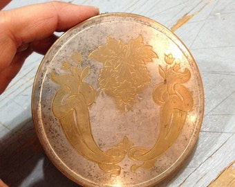 Vintage 1920s Brass Art Nouveau Compact Made in USA