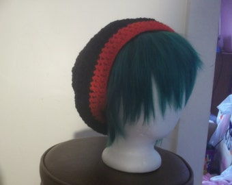 Black and Red Slouch Beanie