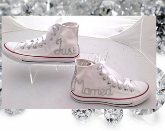 Just married shoes / Wedding converse / Just married converse / honeymoon chucks / unique shoes / bling converse