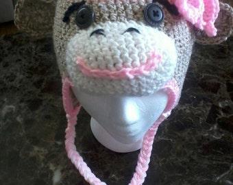 Girl Sock Monkey Beanie
